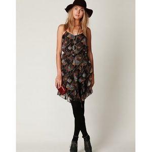 Free People Tiered Black Daisy Chain Boho Dress